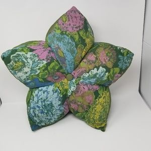 Vintage 1970's Large Green and Pink Pillow